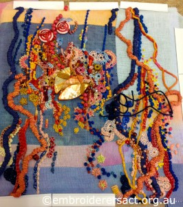 Contemporary Embroidery in Progress by Sharon Boggon