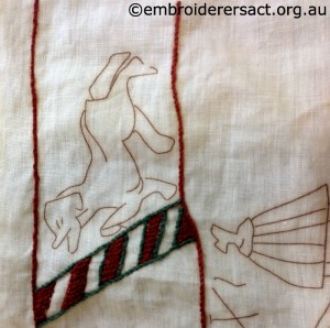 Detail 2 of Bayeux Tapestry Panel in Progress by