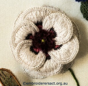 Detail of White Flower from Stumpwork Panel by Lorna Loveland