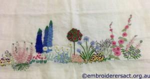Diana Lampe Embroidery in Progress by Janice Brennan