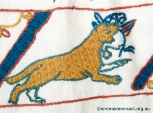 Dog 2 from Bayeux Panel stitched by Gail Haidon