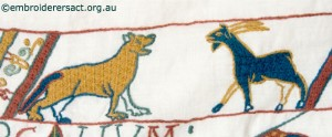Dog and Goat on Bayeux Panel stitched by Gail Haidon