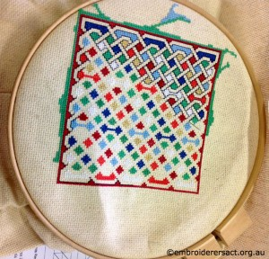 Geometric Square x-stitched by Ruth Jackson