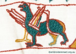 Griffon 2 on Bayeux Panel stitched by Gail Haidon