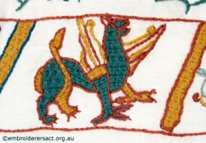 Griffon on Bayeux Tapestry stitched by Gail Haidon