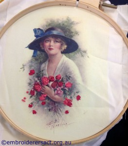 Lady with Roses Silk Flowers in Progress by Shona Phillips