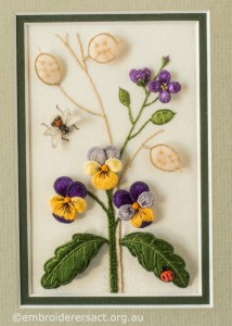 Panel with Heartsease and Honesty Seeds by Lorna Loveland