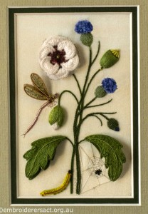 Panel with White Flower and Thistles from Triptych by Lorna Loveland