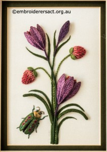 Purple Crocus with Green Beetle Stumpwork by Lorna Loveland
