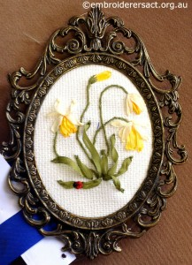 Ribbon Embroidery in frame by Julie Knight