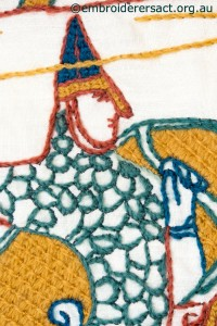 Spear Thrower Detail from Bayeux Panel stitched by Gail Haidon