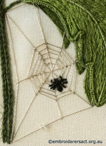Spider in Web from Stumpwork Panel with White Flower by Lorna Loveland