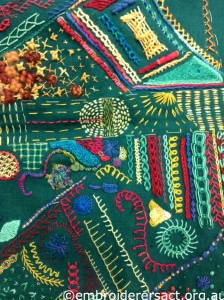 Stitch of the Month Sampler in Progress by Jenny Balderson