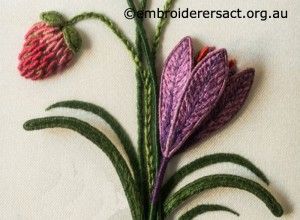 Stumpwork Crocus and Clover Flowers stitched by Lorna Loveland