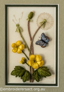 Stumpwork Panel with Yellow Flowers and Butterfly by Lorna Loveland