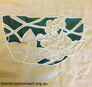 Surface Embroidery in progress by Floriana Basilisco