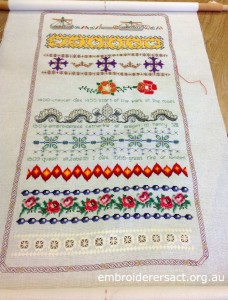 The Milennium Sampler in Progress by Jan Prowse