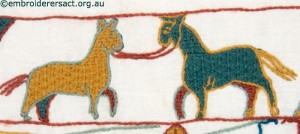 Two Horses on Bayeux Panel stitched by Gail Haidon