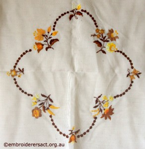 Back of Centre of Tableclorh with Hungarian Embroidery belonging to Elizabeth Hooper
