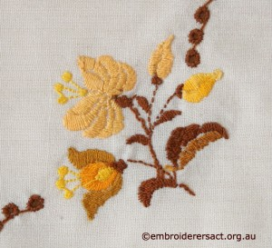Back of Flower Detail from Tablecloth with Hungarian Embroidery belonging to Elizabeth Hooper