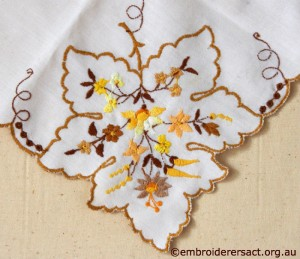 Back of Leaf Detail from Tablecloth with Hungarian Embroidery belonging to Elizabeth Hooper