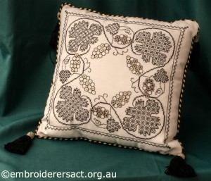 Blackwork Cushion stitched by Marjorie Gilby