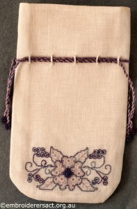 Blackwork Pouch stitched by Marjorie Gilby