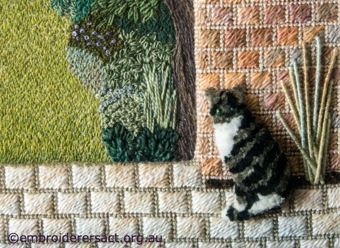 Stumpwork cat