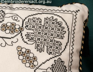 Corner of Blackwork Cushion stitched by Marjorie Gilby