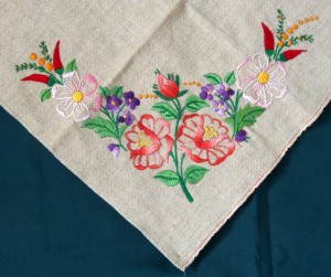 Corner of tablecloth embroidered by Elizabeth Hooper
