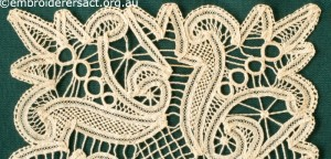 Detail 1 from Lace Square stitched by Margaret Thompson