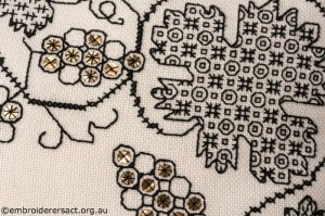 Detail 1 of Blackwork Cushion stitched by Marjorie Gilby