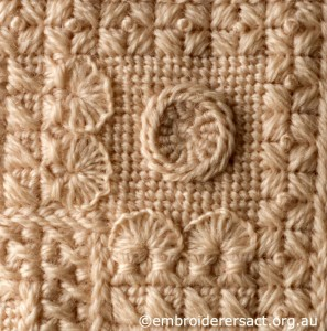 Detail 1 of Cream Aran Cushion by Audrey Schultz