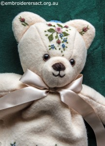 Detail 1 of Embroidered Teddy Bear Pyjama Case by Marjorie Gilby