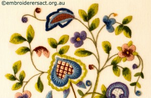Detail 1 of Jacobean Tree with Flowers stitched by Barbara Adams