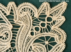 Detail 2 from Tape Lace Square stitched by Margaret Thompson
