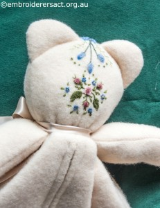 Detail 2 of Embroidered Teddy Bear Pyjama Case by Marjorie Gilby