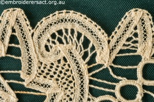 Detail 3 from Tape Lace Square stitched by Margaret Thompson