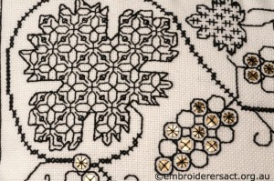 Detail 3 of Blackwork Cushion stitched by Marjorie Gilby