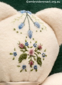 Detail 3 of Embroidered Teddy Bear Pyjama Case by Marjorie Gilby