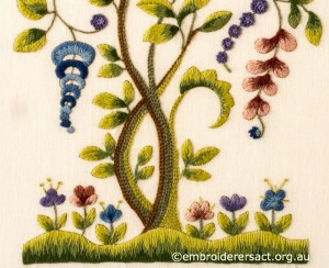 Detail 3 of Jacobean Crewel Tree with Flowers stitched by Barbara Adams