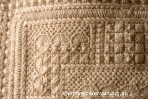 Detail 4 of Cream Aran Cushion stitched by Audrey Schultz