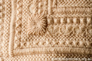 Detail 5 of Cream Aran Cushion stitched by Audrey Schultz