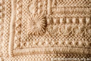 Detail 5 of Cream Aran Cushion stitched by Audrey Schultz