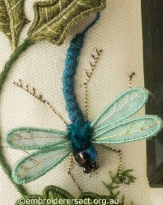 Dragonfly from Jane Nicholas Mirror 2 stitched by Lorna Loveland