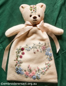 Embroidered Teddy Bear Pyjama Case by Marjorie Gilby