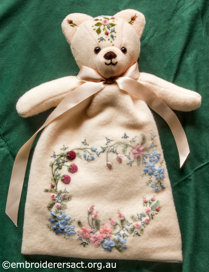 Embroidered Teddy Bear Pyjama Case