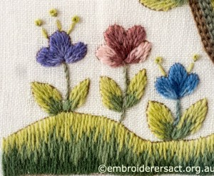Flower Detail 4 of Jacobean Crewel Tree wth Flowers stitched by Barbara Adams