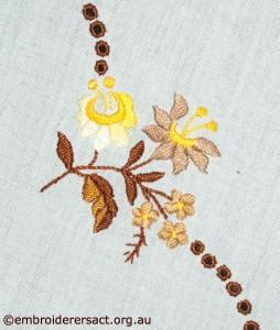 Flower Detail from Tablecloth with Hungarian Embroidery belonging to Elizabeth Hooper