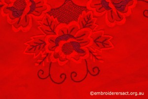 Flower Detail on Red on Red Tablerunner with Hungarian Embroidery belonging to Elizabeth Hooper